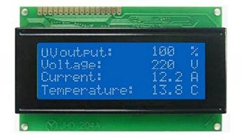 مانیتور کنترل مقادیر دستگاه مدل راکتور مخزنی تصفیه آب با اشعه فرابنفش uv